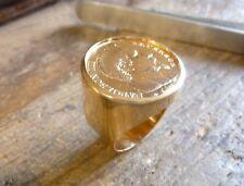 Chevalière or ronde avec pièce or 20 Francs Napoléon tête non laurée