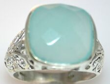 Genuine Aqua Blue Chalcedony Sterling Silver Filigree Ring 925 Size L,5½ to W,11
