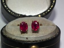 Beautiful Looking Solid 9ct Gold Natural Ruby Set Earrings Superb Example