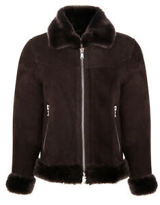 Kids Brown Merino Shearling Sheepskin Jacket Suede Aviator Warm Zip Up Jacket