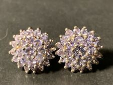 Cluster Post Earrings Sts 925 New listing Sterling Silver Round Cut Tanzanite