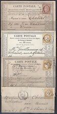 FRANCE 1870s THREE CARDS & 1 COVER FRANKED 15¢ & 5¢ CERES ISSUES