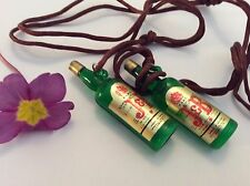 Whiskey Bottle Pendant charm Resin 52mm C'1970 x2 Taiwan Rare Party Favour Gift