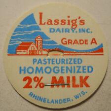 Vintage Lassig's Dairy (Rhinelander, Wisconsin) Milk Bottle Cap (B)