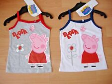 PEPPA PIG GIRLS T SHIRT STRAP TOP NEW WHITE NAVY GREY RED AGES 2 3 4 5 6 7 8