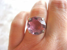 STERLING SILVER ART DECO BIG SOLITAIRE RING EARLY PLASTIC AMETHYST JEWEL SIZE 7