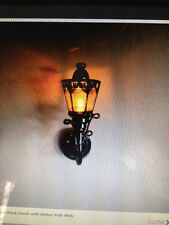 Dollhouse Miniature Lighting - BATTERY OPERATED Blk Coach Wall Lamp w/Amber Lite