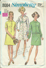 S 8084 sewing pattern 60's SHIRTDRESS vintage Slinky DRESS sew Notched Collar 12