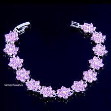 Pink Ice Cz Cubic Zirconia HALO Micro Pave Floral Flower Tennis Line Bracelet