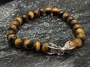 "David Yurman Spiritual Bead Men's Bracelet with Tiger's Eye M 8.5"" Authentic"