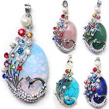 5pcs 1 Lot Peacock Moonstone Agate Rose Quartz Gems Silver Necklace Pendants Set