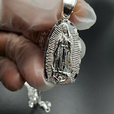 """925 Sterling silver Virgin Mary  Guadalupe Pendant  24""""Necklace"""