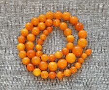 49,7 gr Genuine Natural Baltic Amber Round Beads Necklace Egg Yolk Butterscotch