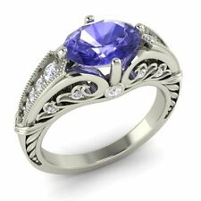 14K White Gold Art Deco Look Ring Certified Oval-Cut Tanzanite & Real Si Diamond