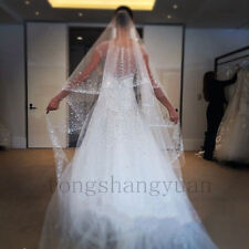 2017 Luxury Crystals Wedding Veils 2T White Ivory Bridal Veils Cathedral + Comb