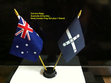 small desk flag set. Australia & Eureka flags with  plastic sticks &  stand