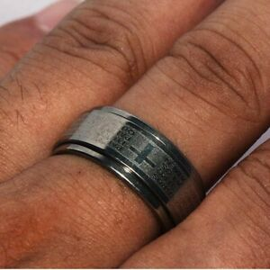 Mens Bible Band Spinner Ring Stainless Steel Cross Rings Man Jewelry Size 5
