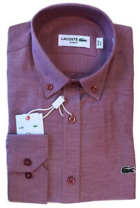 Lacoste Men's Slim Fit Button-Up Shirt Chemise Long Sleeve 100% Cotton