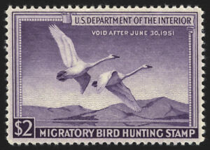 #RW17 $2 Violet Duck Hunting 1950  VF-XF *MNH*