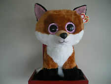 Ty Beanie Boos SLICK the fox 17 inch NWMT.LARGE 40cm.FREE POST.IN AUST.