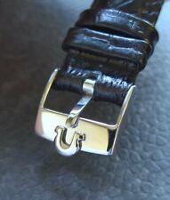 Omega Edelstahl Dornschließe (NOS) mit 18mm Qualitäts-Lederband -schwarz-