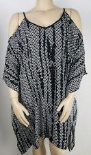WITCHERY Kaftan Tunic Size 16 Cold Shoulder Womens Summer Top Dress Black White