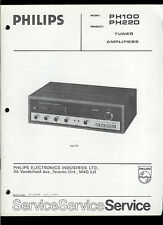 Rare Factory Philips PH 100 200 AM FM Stereo Tuner Receiver Amp Service Manual