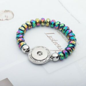 Multi-Color Faceted Hematite Bead Snap Bracelet  Fit 18mm Snap Button Jewelry