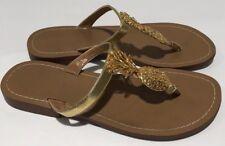 Lilly Pulitzer Target Gold Metallic Pineapple Thong Sandals Flip Flops Sz 8