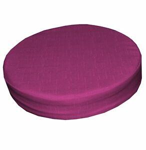 Qh03r Hot Pink/Fuschia Thick Cotton Blend 3D Round Seat Cushion Cover Custom Siz