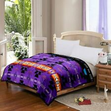 Southwestern Navajo Print Silk Touch Reversible Queen Size Blanket Purple-Black