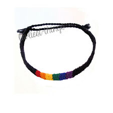 LGBT Gay Pride Rainbow Friendship Bracelet Woven Cuff Bangle Wristband Festivals
