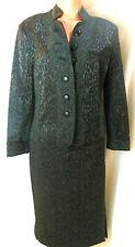 Alberto Makali Skirt Suit 8 Skirt 10 Jacket Gray Leopard Lined Straight Knee EUC