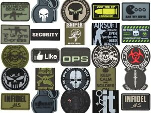 Tactical Airsoft Patch Hook & Loop PVC Badge Morale Paintball Zombie Sticky UK