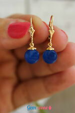Royal Natural Blue Agate Ball Beads Dangle Drop Gemstone Gold Filled Earrings