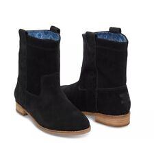 NWT TOMS BLACK SUEDE LAUREL WOMEN'S BOOTS SHOES. Style 10008963 SZ 6