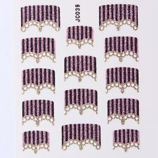 Nail Art Decal Stickers Glitter Nail Tips Pink Black & Gold Strips JC039