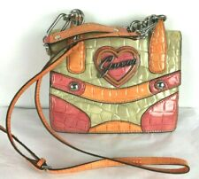 VTG 90s GUESS Croc Embossed Faux Leather Two Way Small Shoulder Messenger Bag