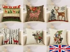 "18"" Christmas Cushion Cover Xmas Santa Nordic Reindeer Pillow Case - UK"