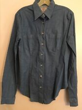 "ARMANI JEAN Blue Light Weight  Denim Button Down LS Top. Size- 19"". NEW. $115."
