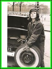 MARIE DUBOIS - Original Photo by PHILIPPE R. DOUMIC - Changing a Tire - 1960's