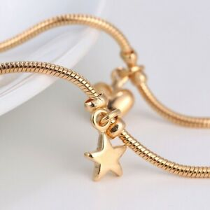 """9K 9ct Yellow """"Gold FILLED"""" ANKLE CHAIN Heart Stars Bells Anklet. 10.6"""" Gift1329"""