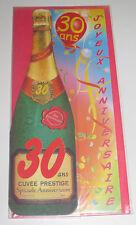 Carte Anniversaire Bouteille de Champagne 30 ans 24x10 cm NEUF