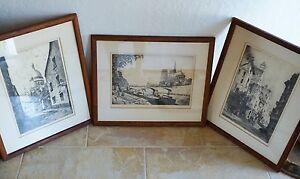 Set of 3 Charles Nollet Etching Prints ~ Paris ~ Artist Signed ~ Framed w/ Glass