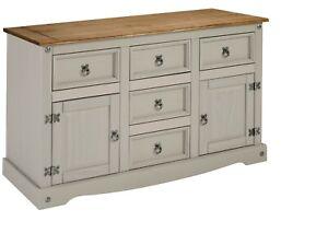 Corona Sideboard Grey Wax 2 Door 5 Drawer Solid Pine Dining Mercers Furniture®