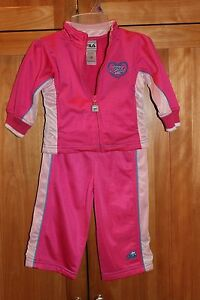 Toddler girl FILA PINK ATHLETIC WARM UP SUIT JACKET PANTS SET OUTFIT NWOT 12m