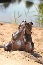 bettelnder Frosch aus Gusseisen  Deco Garten  Braun Skulptur Figur