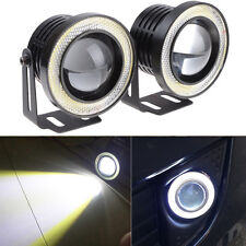 "2x 2.5"" Car Fog Light Lamp COB LED Projector White Halo Angel Eyes Rings DRL"