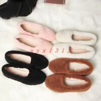 Women Round Toe Slip On Real Lamb Fur Warm Loafer Casual Shoe Winter Sweet New