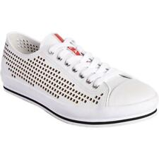 PRADA Mens Nevada Perforated White Leather Lace Up Cap Toe Sneakers Shoes $450